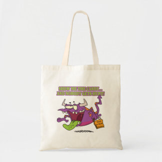 show me the candy funny halloween monster toon bag