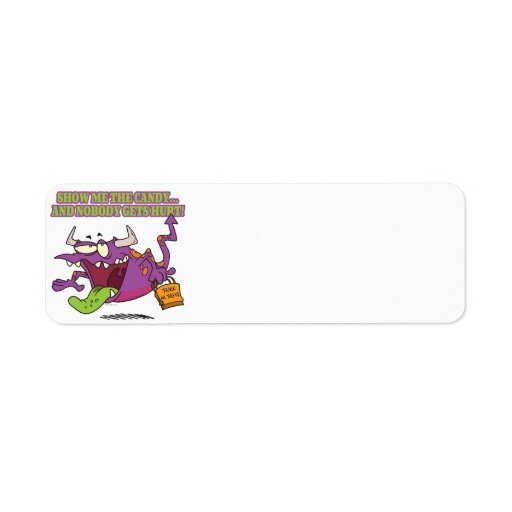 show me the candy funny halloween monster toon return address label