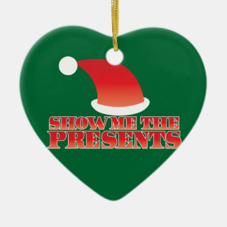 Show me the PRESENTS! with cute little santa hat Double-Sided Heart Ceramic Christmas Ornament