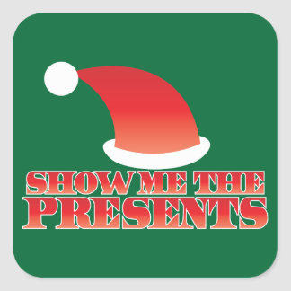 Show me the PRESENTS! with cute little santa hat Sticker
