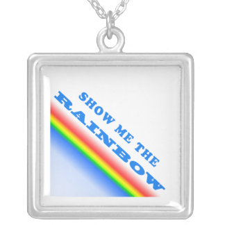 Show Me The Rainbow Square Pendant Necklace