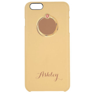 Show Off Apple Logo with Gold Ring Monogram Name Uncommon Clearly™ Deflector iPhone 6 Plus Case