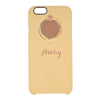 Show Off Apple Logo with Gold Ring Monogram Name Uncommon Clearly™ Deflector iPhone 6 Case