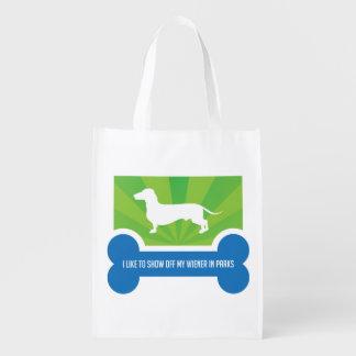 Show off my Weiner Dog Dachshund Reusable Bag Market Tote