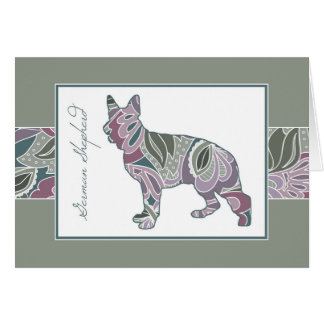 Show Ring Shepherd in Sage Blush Garden Pattern, Card