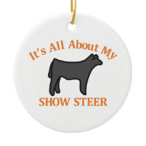 Show Steer Ceramic Ornament