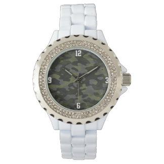 Show Strass alloy of white enamel Camouflage Wristwatch