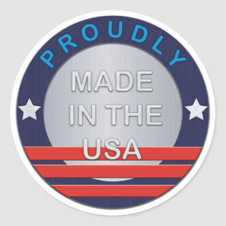 SHOW SUPPORT STICKERS-METAL BADGE-Proudly Made in  Classic Round Sticker