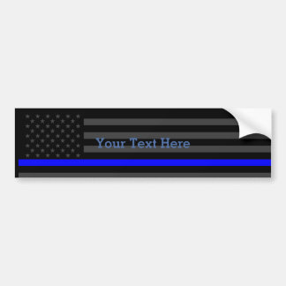 Show The Thin Blue Line Personalized Black US Flag Bumper Sticker