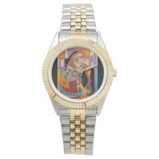 "Show ""the woman fits latticework on "" wrist watch"