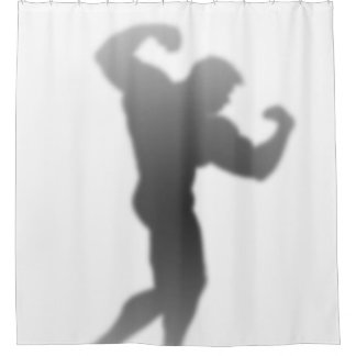 Show Time - Funny Bodybuilder Man Silhouette Shower Curtain