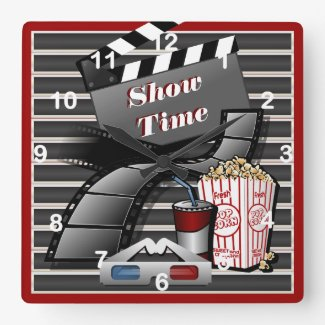 Show Time Movie Theater Square Wallclock