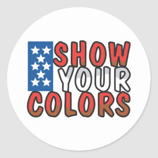 Show Your Colors USA Design Classic Round Sticker