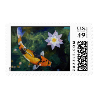 Showa Koi and Water Lily Stamp