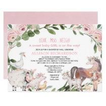 Shower by mail Farm Barnyard animals baby girl Invitation