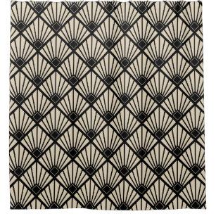 Shower Curtain   Art Deco Fan Black U0026 Beige