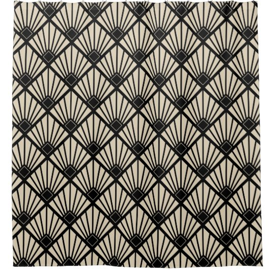 Shower Curtain - Art Deco Fan Black & Beige