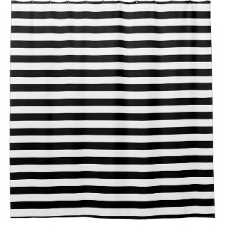 Shower Curtain - Black and White Summer Stripes