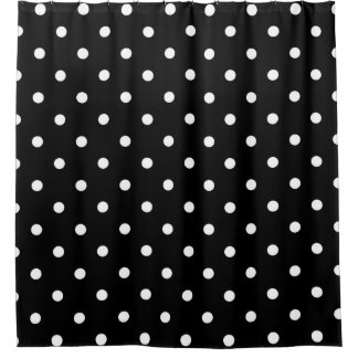 On Black Polka Dots Shower Curtains | Zazzle