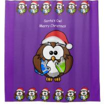 Shower Curtain Children's Owl Christmas