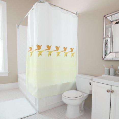 Shower Curtain Flying Birds Pattern