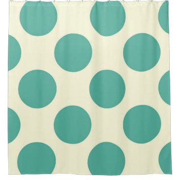 Beach Themed Shower Curtain large Circles Dots Blue Off-white