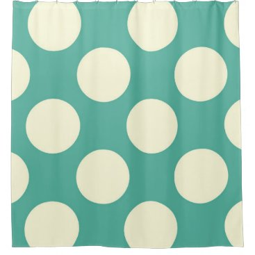 Beach Themed Shower Curtain large Circles Dots Green Cream