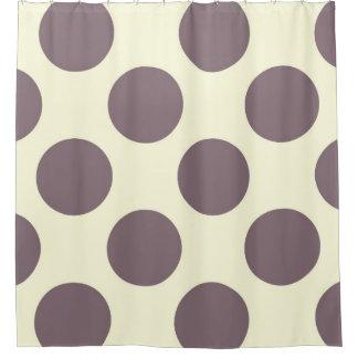 Shower Curtain large Circles Dots Purple Cream