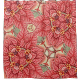 Shower Curtain, Patterned Poinsettia 2 Shower Curtain