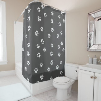 Shower Curtain Pattes Blanche/Gris