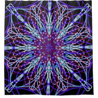 Shower Curtain, Purple Black Kaleidoscope Art Shower Curtain