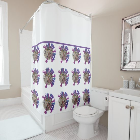 Shower Curtain - Purple Finned Fish