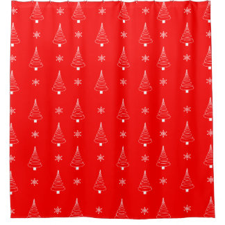 Shower Curtain Red-White Christmas