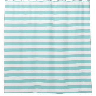 Shower Curtain - Shell Aqua Summer Stripes