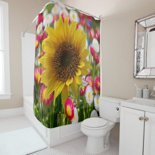 Shower curtain sunflowers