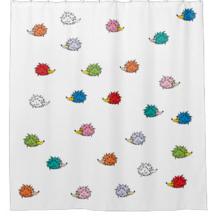 Shower Curtain With Funny Colorful Hedgehogs