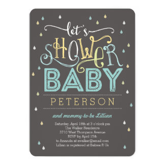 Shower Drops Baby Shower Invitation - Blue