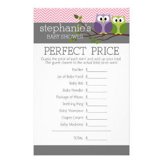 Shower Games Pink Cute Owls on Branch Baby Girl Flyer Design