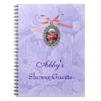 Shower Guests pink rose charm blue leaf pattern Note Books