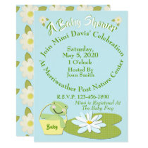 Shower Invitation w/Cute Baby Frog & Lilly Pad