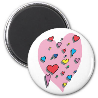 Shower of Colorful Hearts 2 Inch Round Magnet