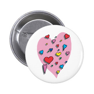 Shower of Colorful Hearts 2 Inch Round Button