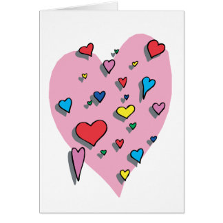 Shower of Colorful Hearts Card