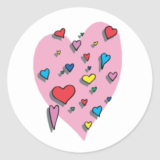 Shower of Colorful Hearts Classic Round Sticker