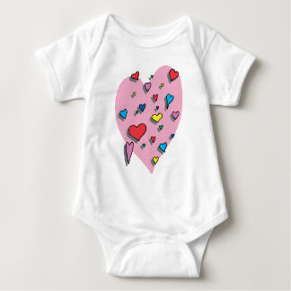 Shower of Colorful Hearts Infant Creeper