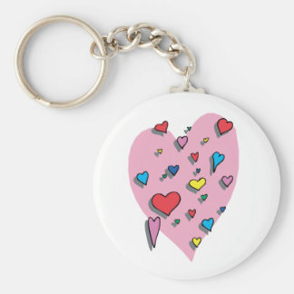 Shower of Colorful Hearts Basic Round Button Keychain