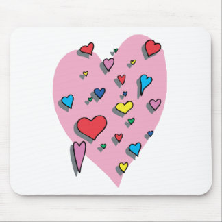 Shower of Colorful Hearts Mouse Pad