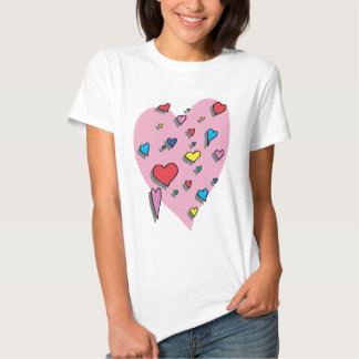 Shower of Colorful Hearts Tee Shirt