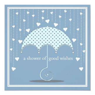 Shower of Hearts Blue Baby Shower Invitation