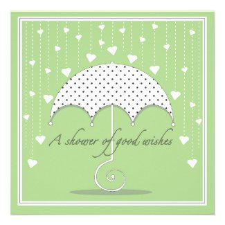 Shower of Hearts Green Baby Shower Invitation